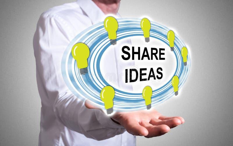 Het concept van aandeelideeën boven een menselijke hand stock foto