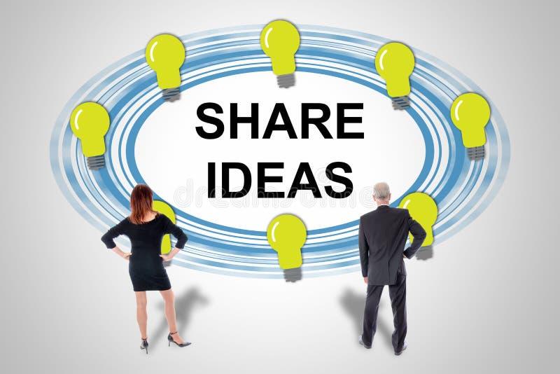 Het concept van aandeelidee?n door bedrijfsmensen wordt gelet op die stock afbeelding