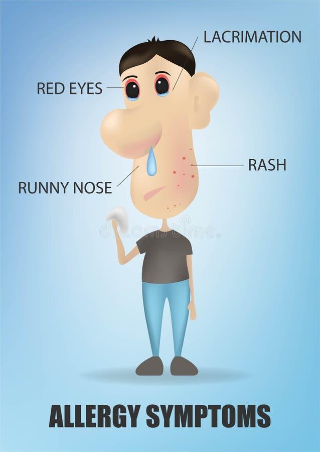 Het concept van allergiesymptomen met hoestniesgeluid die de lopende neus van de huiduitbarsting en zieke pijnlijke ogen jeuken V vector illustratie