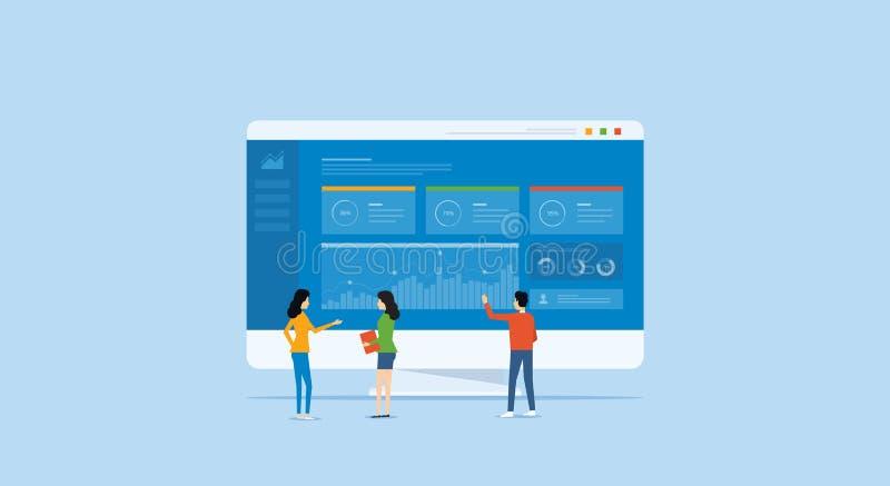 Het concept van het bedrijfsanalyticsontwerp en commerciële teamvergadering voor het werken vector illustratie