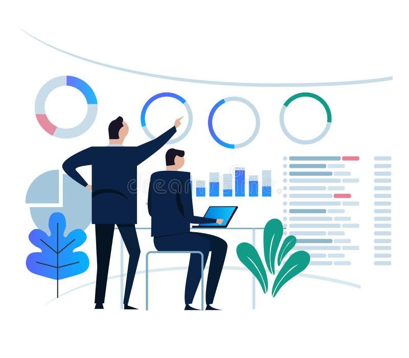 Het concept van het bedrijfsanalyticsontwerp en commerciële teamvergadering voor het werken aan dashboardmonitor groot grafiekdoe vector illustratie