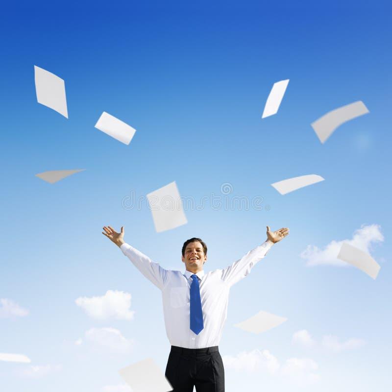 Het Concept van bedrijfszakenmandocuments throwing happiness stock foto