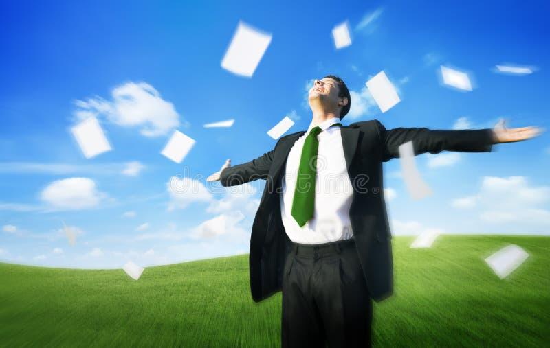 Het Concept van bedrijfszakenmandocuments throwing happiness royalty-vrije stock foto's