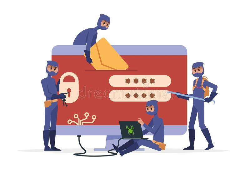 Het concept van beeldverhaalhakkers Misdadige persoon die in zwarte kleren informatie en inbrekerscomputer stelen Vector veilige  vector illustratie