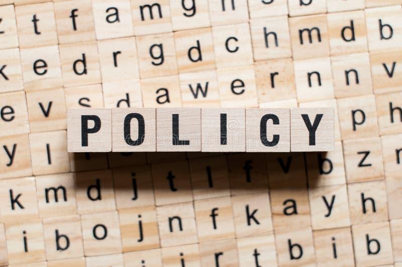 Het concept van het beleidswoord royalty-vrije stock afbeeldingen
