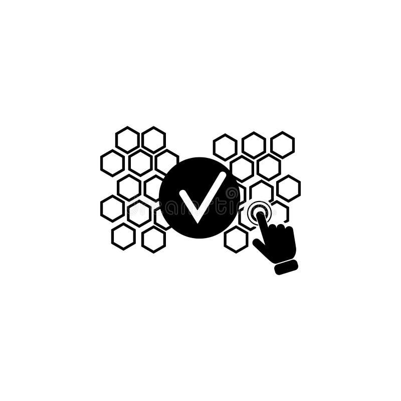 Het concept van het bevestigingsproces op het pictogram van het aanrakingsscherm Element van de technologiepictogram van het aanr royalty-vrije illustratie
