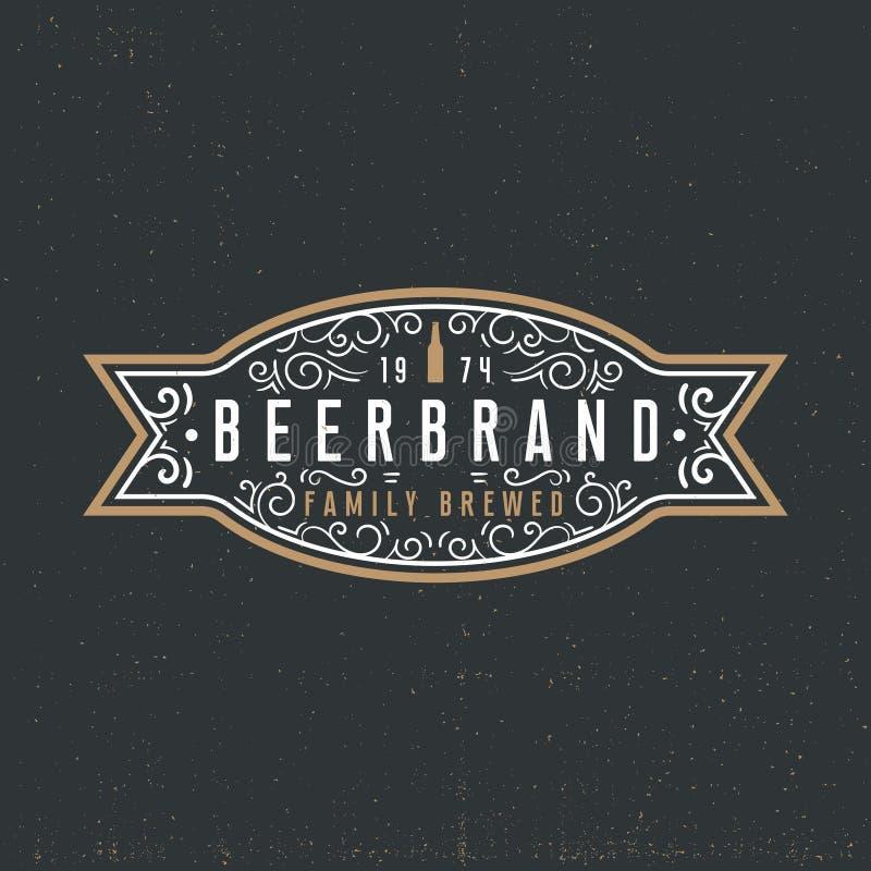 Het concept van het bieretiket logotype in uitstekende stijl op donkere achtergrond royalty-vrije illustratie