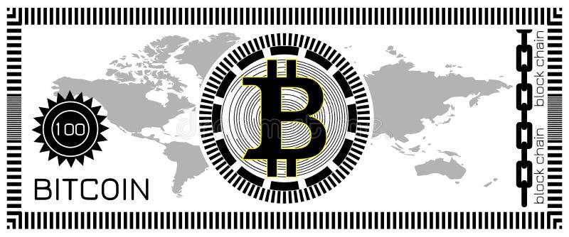 Het concept van het Bitcoinbankbiljet Blokketen technologie, virtueel digitaal geld Malplaatje voor spel, grap, gift Vector illus royalty-vrije illustratie