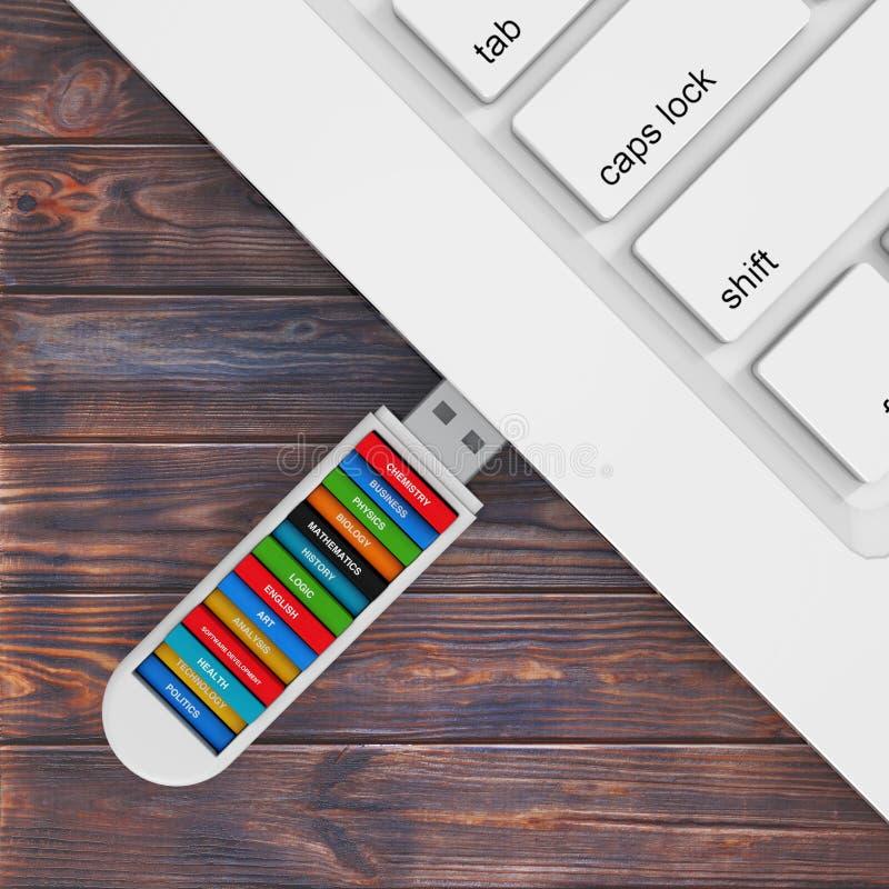Het concept van het computeronderwijs Schoolboeken in USB-de Kegel van de Flitsaandrijving vector illustratie