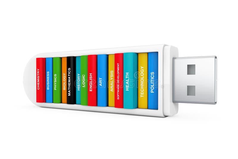Het concept van het computeronderwijs Schoolboeken in USB-Flitsaandrijving 3d stock illustratie