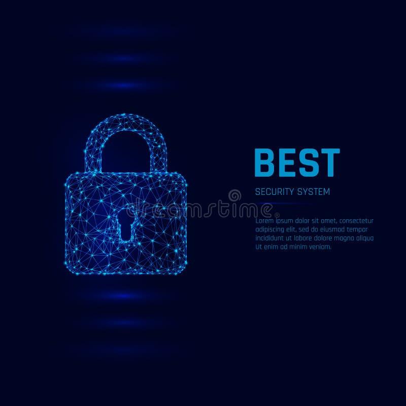 Het concept van het Cyberveiligheidssysteem Gesloten hangslot Vector illustratie royalty-vrije illustratie