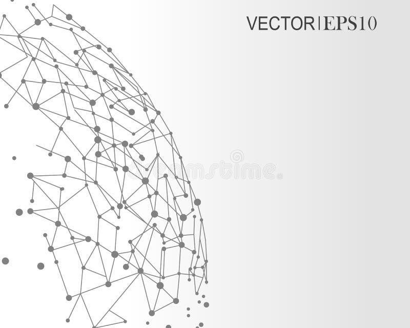 Het concept van de aansluting Geometrische achtergrond voor bedrijfs of wetenschapspresentatie stock illustratie