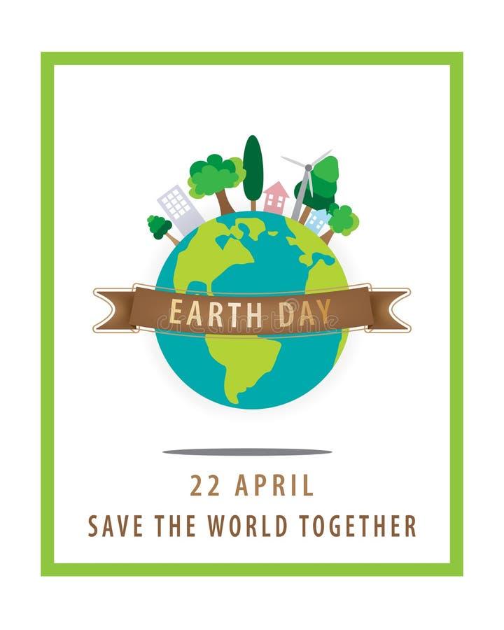 Het concept van de aardedag, 22 April, de bol met bruin lint en een groene vierkante grens op witte achtergrond stock illustratie