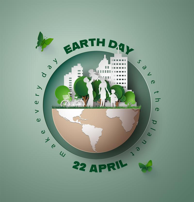 Het concept van de aardedag met stad en mensen stock illustratie