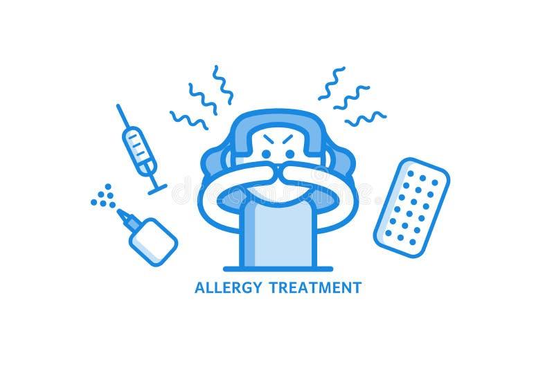 Het concept van de allergiebehandeling met jonge vrouw die allergisch Rhinitis en diverse geneesmiddelen hebben rond haar stock illustratie