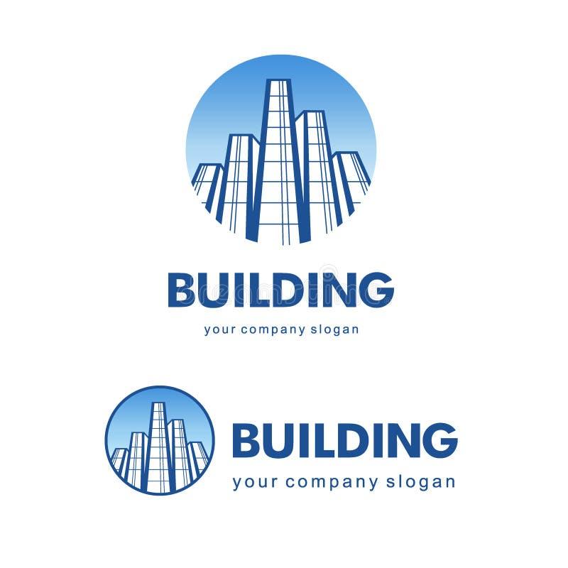 Het concept van de architectenbouw Vectorembleem voor de bouw van bedrijven vector illustratie