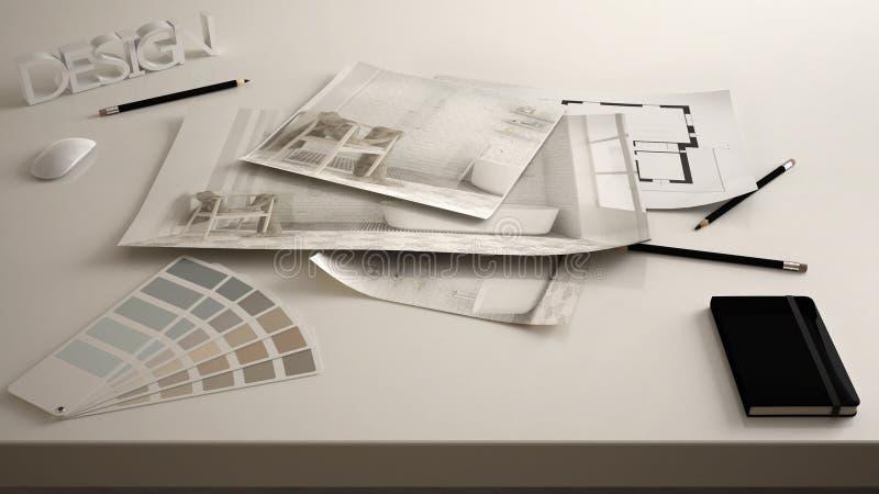 Het concept van de architectenontwerper, dient dicht omhoog met binnenlands vernieuwingsontwerp in, de blauwdruktekeningen van he royalty-vrije stock afbeeldingen