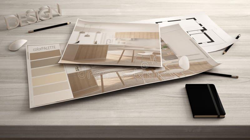Het concept van de architectenontwerper, dient dicht omhoog met binnenlands vernieuwingsontwerp, plan en kleurenpalet in, de mode royalty-vrije stock afbeeldingen