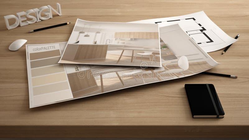 Het concept van de architectenontwerper, dient dicht omhoog met binnenlands vernieuwingsontwerp, plan en kleurenpalet in, de mode stock fotografie