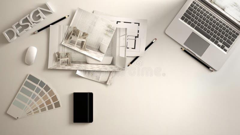 Het concept van de architectenontwerper, wit het werkbureau met computer, document ontwerp, de beelden van het slaapkamerproject  royalty-vrije stock afbeelding
