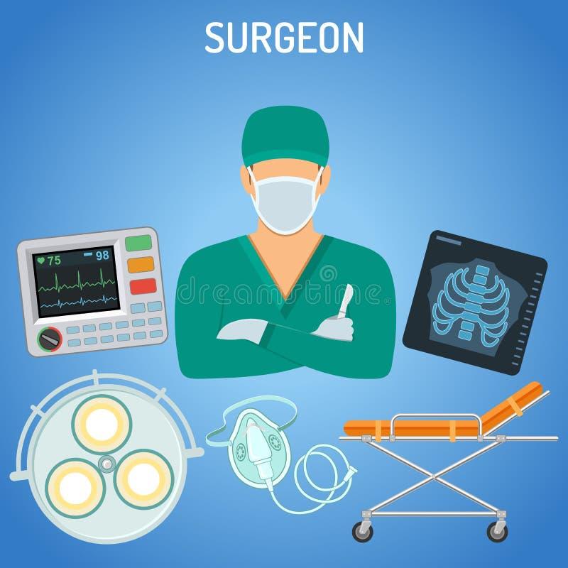 Het concept van de artsenchirurg royalty-vrije illustratie