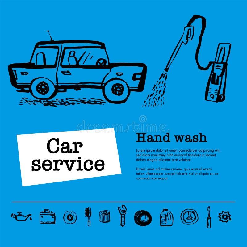 Het concept van de autodienst De Webbanner met scène stelt arbeiders in de autodienst, handwas, de banddienst, autoreparatie enz. vector illustratie