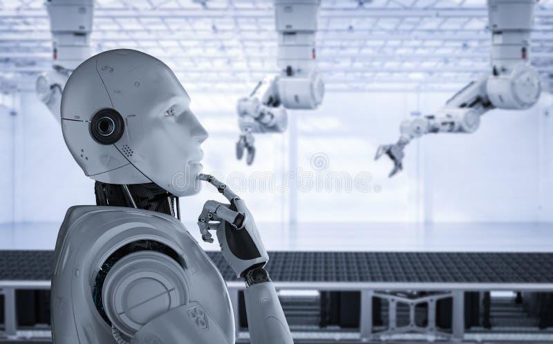 Het concept van de automatiseringsfabriek stock illustratie