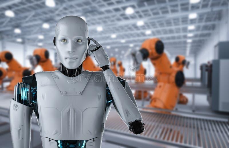 Het concept van de automatiseringsfabriek royalty-vrije illustratie