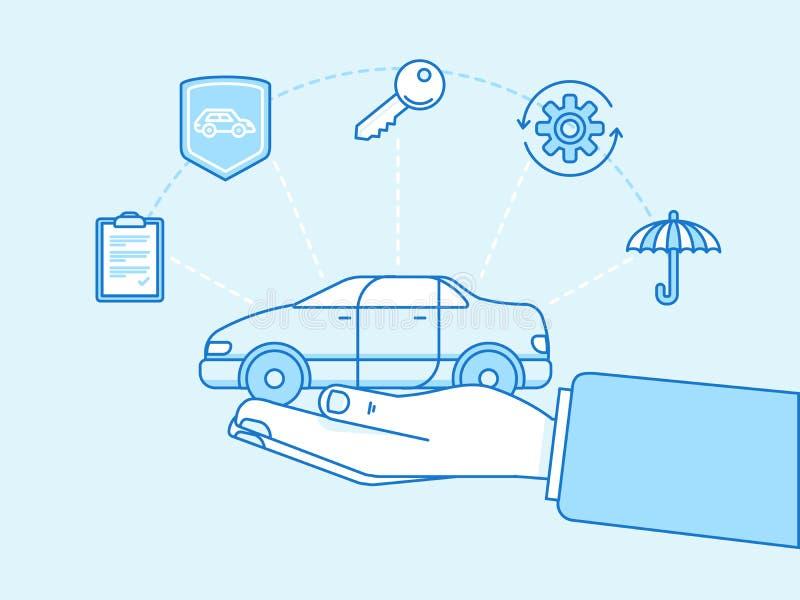 Het concept van de autoverzekering - illustratie en infographicsontwerp ele stock illustratie