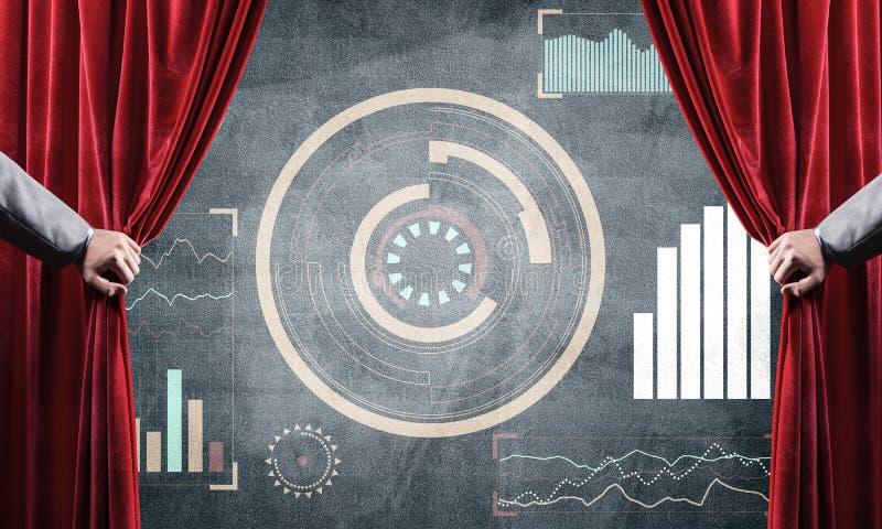 Het concept van de bedrijfsdiesuccesstrategie door infographs op concrete muur wordt voorgesteld royalty-vrije stock foto's