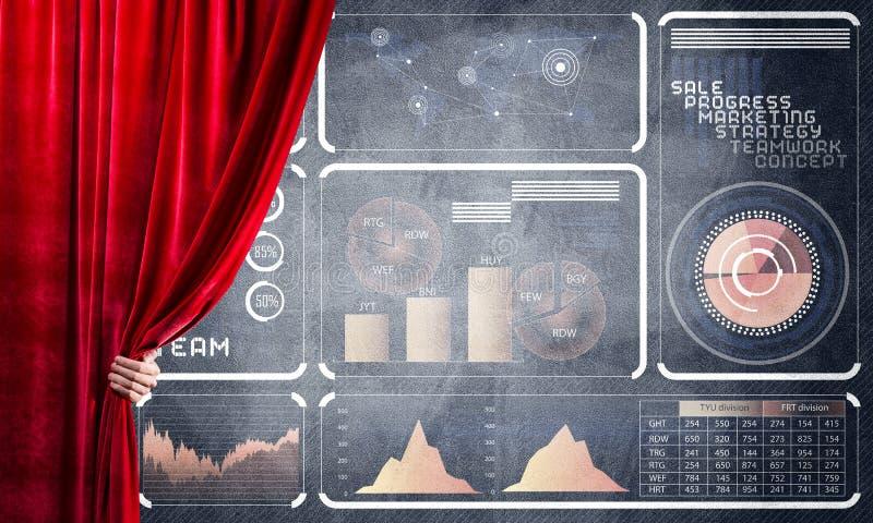 Het concept van de bedrijfsdiesuccesstrategie door infographs op concrete muur wordt voorgesteld royalty-vrije stock foto