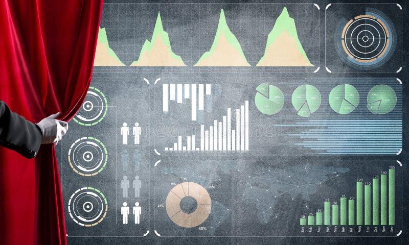 Het concept van de bedrijfsdiesuccesstrategie door infographs op concrete muur wordt voorgesteld stock afbeelding