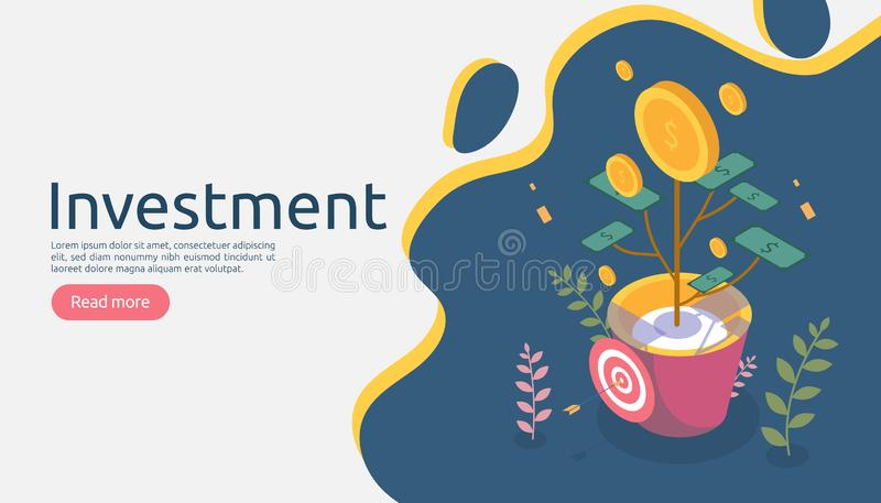 Het concept van de bedrijfseconomiegroei De winst op investerings isometrische vectorillustratie met geldmuntstuk plant in bloemp stock illustratie
