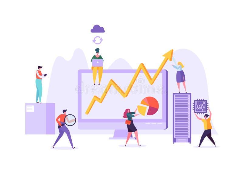 Het Concept van de bedrijfsgegevensanalyse Marketing Strategie, Analytics met Mensenkarakters die Financiële Statistiekengegevens vector illustratie