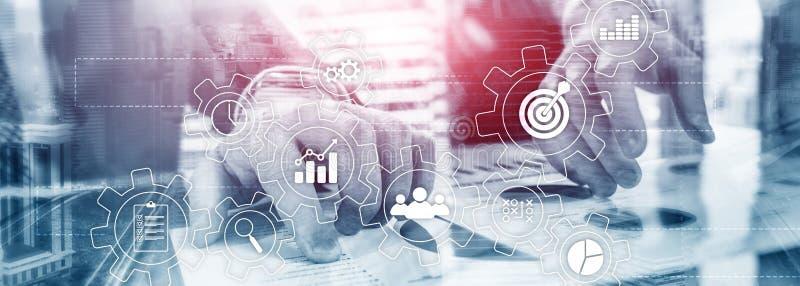Het concept van de bedrijfsprocesautomatisering Toestellen en pictogrammen op abstracte achtergrond stock fotografie