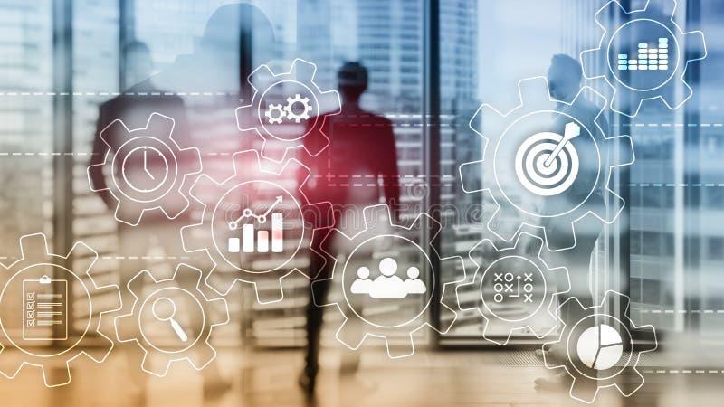 Het concept van de bedrijfsprocesautomatisering Toestellen en pictogrammen op abstracte achtergrond royalty-vrije stock fotografie