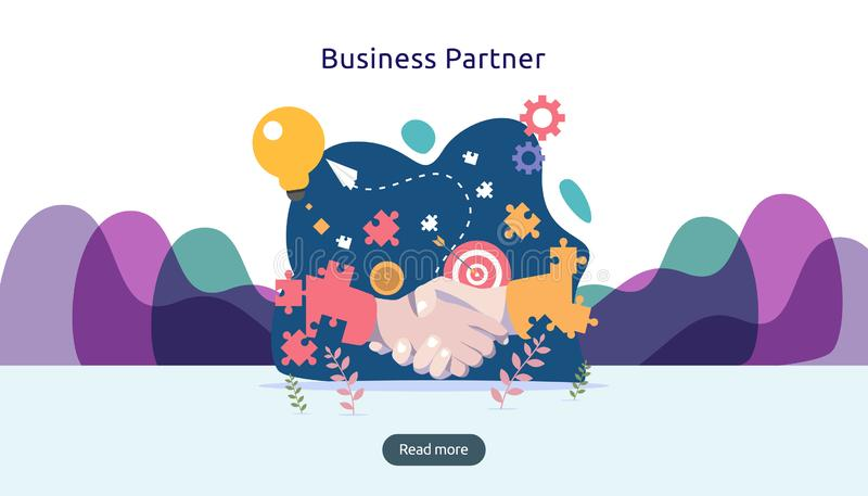 Het concept van de bedrijfsvennootschaprelatie met handschok en uiterst klein mensenkarakter team die malplaatje voor Web het lan royalty-vrije illustratie