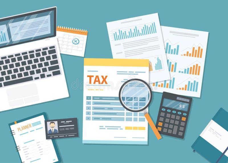 Het concept van de belastingsbetaling De Overheidsbelastingheffing van de staat, berekening van belastingaangifte Belastingsvorm  stock illustratie