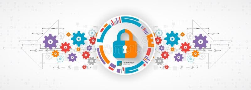 Het concept van de bescherming Bescherm mechanisme, systeemprivacy Vector stock illustratie