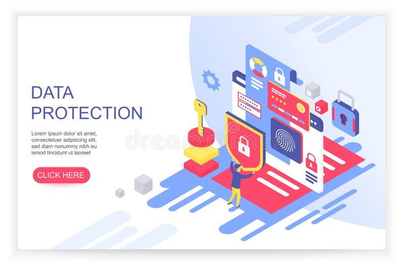 Het Concept van de Bescherming van gegevens Creditcardcontrole en de gegevens van de softwaretoegang zoals vertrouwelijk kan voor vector illustratie