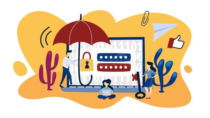 Het Concept van de Bescherming van gegevens Idee van veiligheid royalty-vrije illustratie