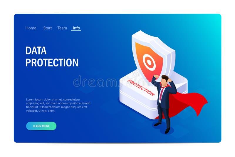 Het concept van de bescherming De mens met super capaciteiten of een held bevindt zich naast een schild Bescherming van gegevens  stock illustratie