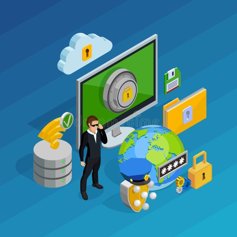 Het Concept van de Bescherming van gegevens vector illustratie