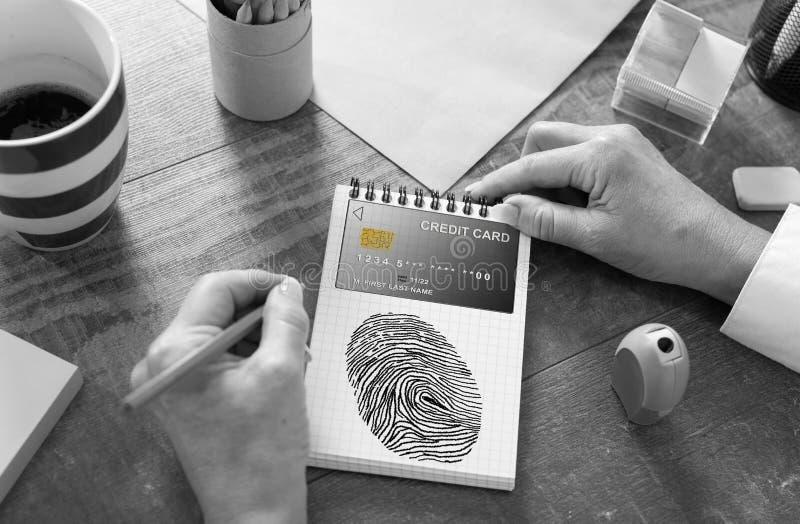 Het concept van de betalingsveiligheid op een blocnote stock foto