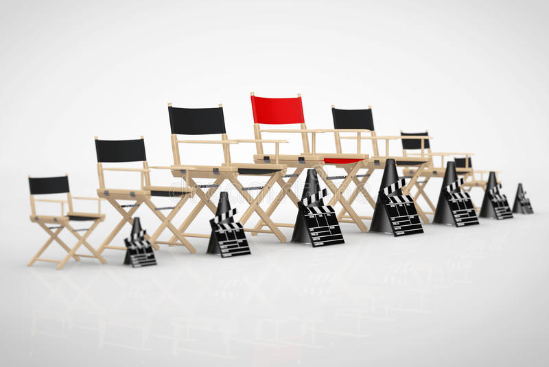 Het Concept van de bioskoopindustrie Directeur Chairs, Filmkleppen en Meg vector illustratie