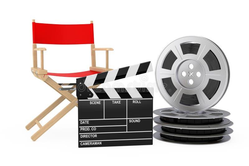 Het Concept van de bioskoopindustrie Rode Directeur Chair, Filmklep en F vector illustratie