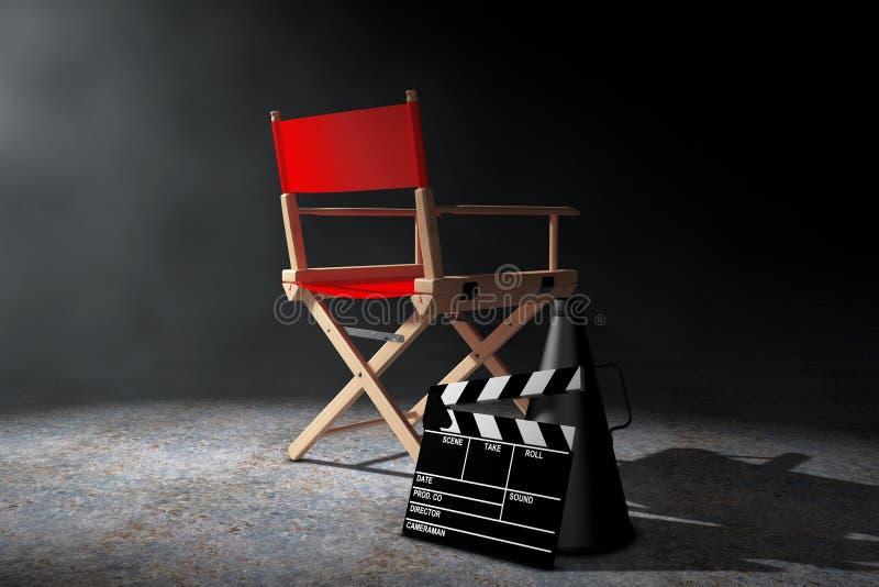 Het Concept van de bioskoopindustrie Rode Directeur Chair, Filmklep en M stock illustratie
