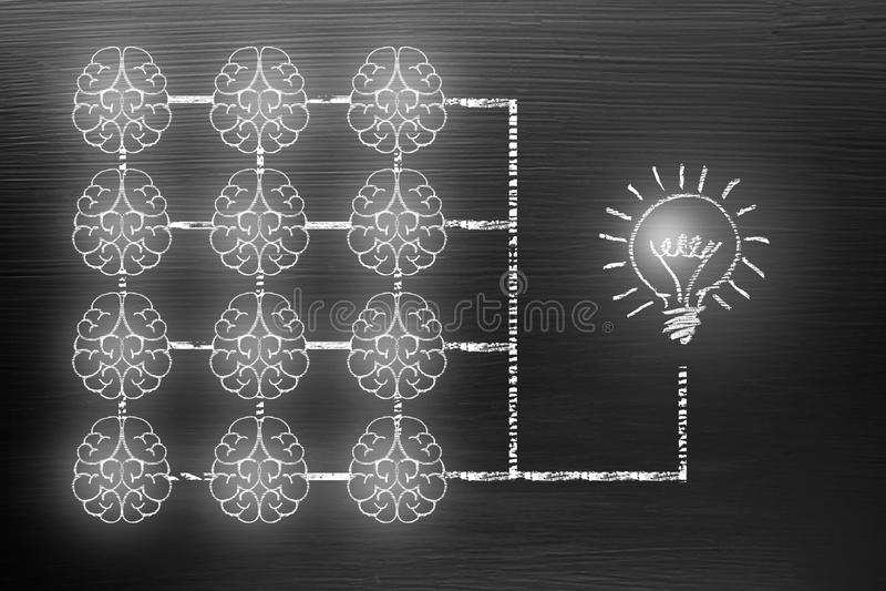Het concept van de brainstormingscreativiteit voor goede ideeën op bord binnen stock foto's