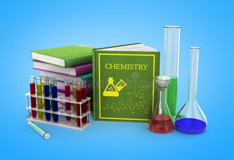 Het concept van de chemieklasse met stapel van boeken en chemische oplossing royalty-vrije illustratie