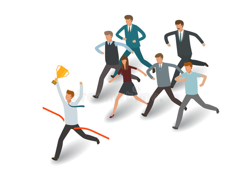 Het concept van de concurrentie Zakenman en groep bedrijfsmensen die aan het doel lopen De vectorillustratie van de informatiegra stock illustratie